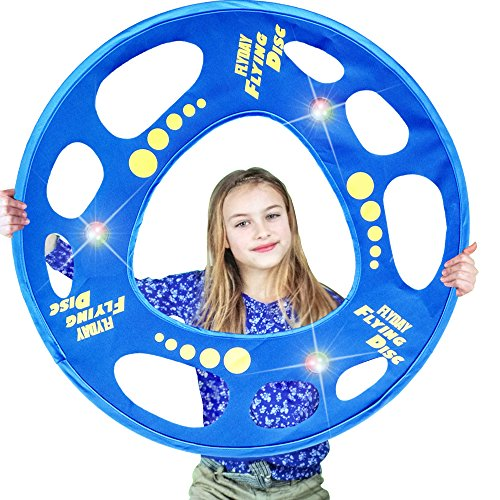 Flyday Flashflight Frisbee Ring Training Flying Disc Hoop Easy to Catch 27 Inch,Cool Gifts for Birthday,Outdoor (Flashflight Led Frisbee)