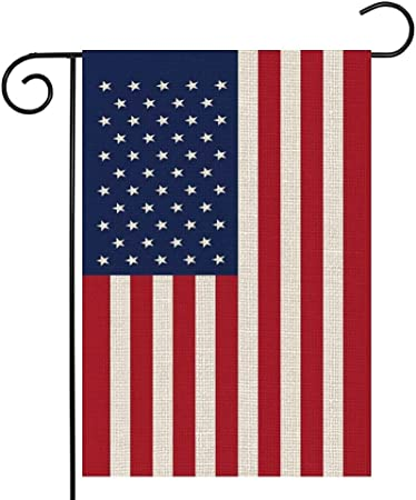 American Flag Garden Flag,US USA Patriotic yard garden Flags for Outside,Burlap Double Sided Small American Flag Outdoor Decor,12.5 x 18 Inches