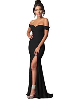 Lily Wedding Womens Off Shoulder Prom Dresses 2018 Long Mermaid Formal Evening Ball Gowns with Slit