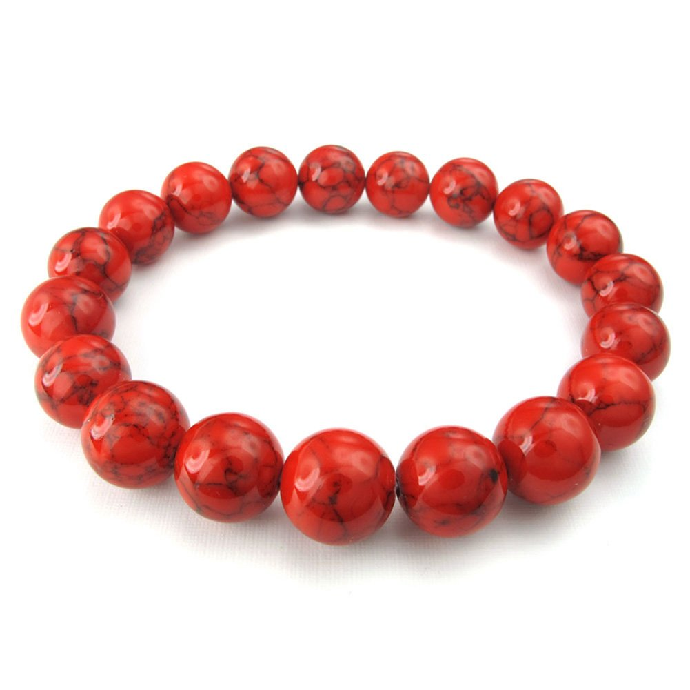 TEMEGO Jewelry Mens Womens 12mm Link Wrist Bracelet, Natural Stone Buddha Mala Beads Stretch Bracelet, Red