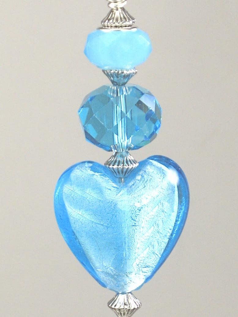 Turquoise Blue Glass Heart with Silvery Accents Ceiling Fan Pull Chain