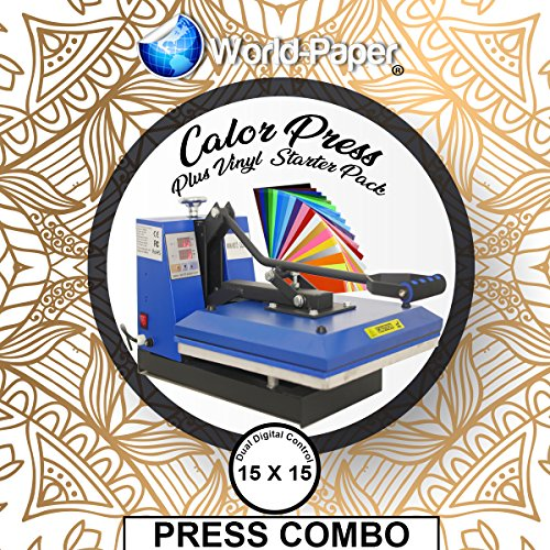 Heat Press Machine 15'' x 15'' Clamshell Manual Press, Sublimation, HTV, Transfer Paper FREE 19 10x12 Vinyl Sheets by Calor Press Blue Line