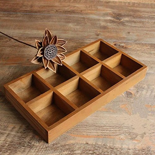 - Multi-functional 8-Grid Vintage Wooden Storage Divider Box Drawer Desk Organizer Tray for Crafts,Flowers, Plants, Jewelry, Supplies from Astra Gourmet