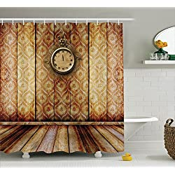 Ambesonne Victorian Decor Shower Curtain Set, Antique Clock on Medieval Style Wall Wooden Floor Classic Architecture Theme Art, Bathroom Accessories, 84 Inches Extralong, Beige Brown