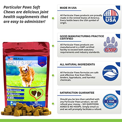 Glucosamine for Dogs - Treats - Joint & Hip Formula with MSM, Chondroitin and Hyaluronic Acid - 65 Soft Chews by Particular Paws (Image #6)