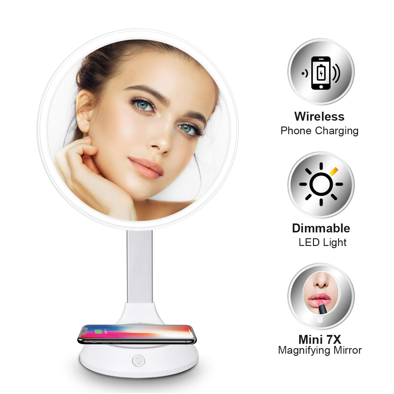 Lighted Makeup Mirror - with Wireless Phone Charger, 9'' Dimmable LED Makeup Mirror, Detachable 7x Magnifying Makeup Mirror, Adjustable Lighted Makeup Mirror with Magnification for Tabletop Bathroom