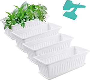 L&Y- 4 Pack Flower Window Box Plastic Rectangular Window Planters with 20 Plant Labels and Trays Vegetables Growing Container Garden Flower Plant Pot for Balcony, Windowsill, Patio, Garden
