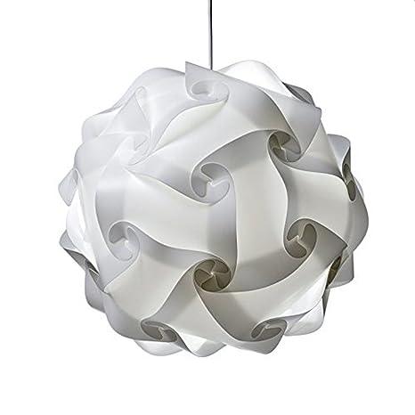Pantalla blanca colgante DIY lámpara de techo Dormitorio de la lámpara plana auto montaje no incluido Buld y cable (S/M) (M)