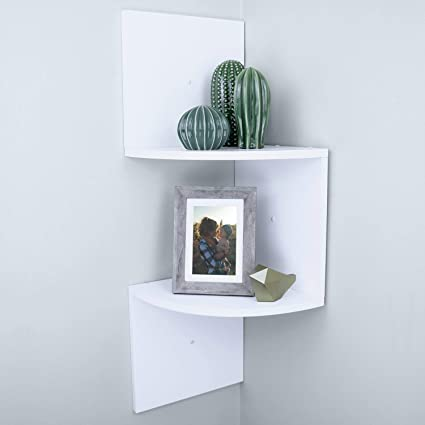 367b065fea02 Smart Living Company 2-Tier White Corner Shelf, 9.62