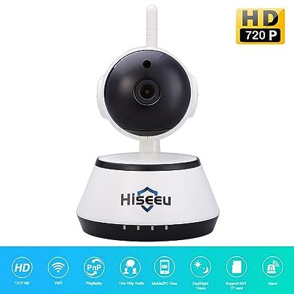hoar HisEEu Mini Camaras de Seguridad Wifi Inalámbrico HD 720P Visión nocturna CMOS CCTV Alarmas de