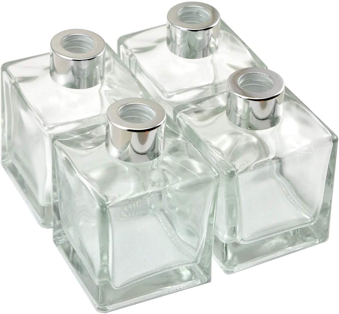 Ougual Set of 4 Home Fragrance Glass Diffuser Bottles, Exquisite Square Essential Oils Container (200ML, Silver Caps)