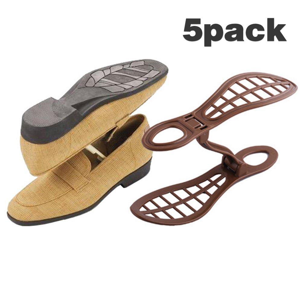 Adjustable Shoe Storage Space Rack Saver Organizer - 5 Pack Brown (Brown) Bevis Packing