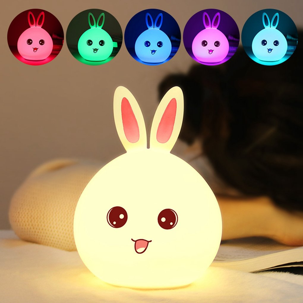 Baby Kids Night Light Kawaii Silicone Bunny Rabbit Lamp Tap Control Color Changing Breathing Light for Children,Funny Nighttime Buddy (Pink Bunny Ears)