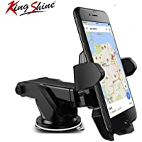 King Shine Car Mobile Holder for Car Windshield/Dashboard | Portable Pocket Sized | Lightweight | Travel Stand for All Mobile Phones[4 Inch to 6.3 Inch] (Car Mount Long Neck)