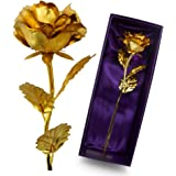 Unite Stone Monther Day Gift 24K Gold Foil Artificial Rose Flower Birthday Gift