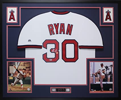Nolan Ryan Autographed White Los Angeles Angels Jersey - Beautifully Matted  and Framed - Hand Signed d6d9b34a7
