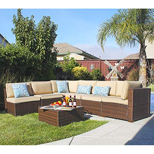 Patiorama 7 Pieces Patio Sectional, Outdoor Patio Furniture Sets Rattan Sofa Wicker Furniture Set, Outdoor Backyard Porch Garden Poolside Balcony Furniture Sets Brown and Beige