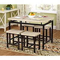 Delano Two-tone 5-piece Dining Set Brown Metal Legs Black Neutral