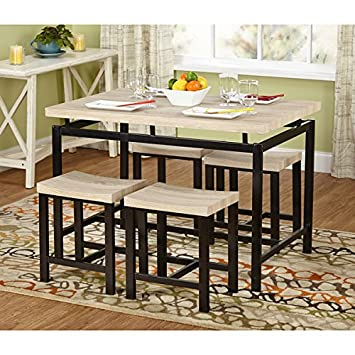 Delano Two Tone 5 Piece Dining Set Brown Metal Legs Black Neutral