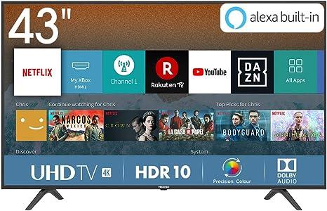 Hisense H43BE7000, Smart TV 4K Ultra HD, 3 HDMI, 2 USB, Salida Óptica y de Auriculares, Wifi, HDR, Dolby DTS, Procesador Quad Core, VIDAA U 3.0 con IA: Amazon.es: Electrónica