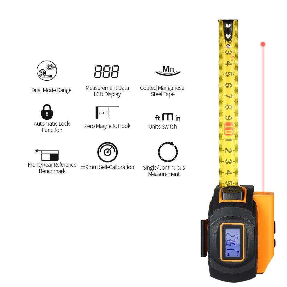 SNDWAY Digital Laser Distance Meter Rangefinder Handheld Infrared Range Finder 2 in 1 5m Measuring Tape 60m Laser Ruler with LCD Display