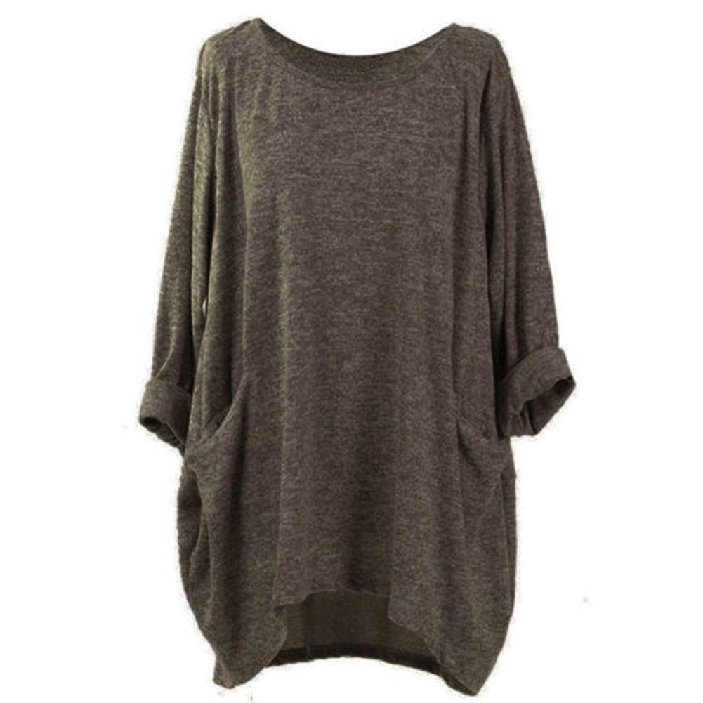 Orangeskycn Women Thin Sweater With Pocket,Autumn Long Loose Casual Blouses