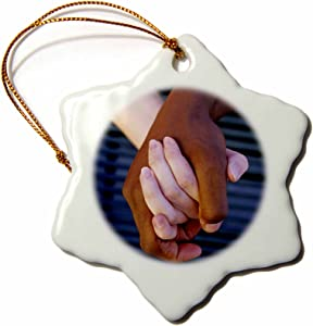 3dRose orn_83230_1 Interracial Couple Holding Hands Love David R. Frazier Snowflake Decorative Hanging Ornament, Porcelain, 3-Inch