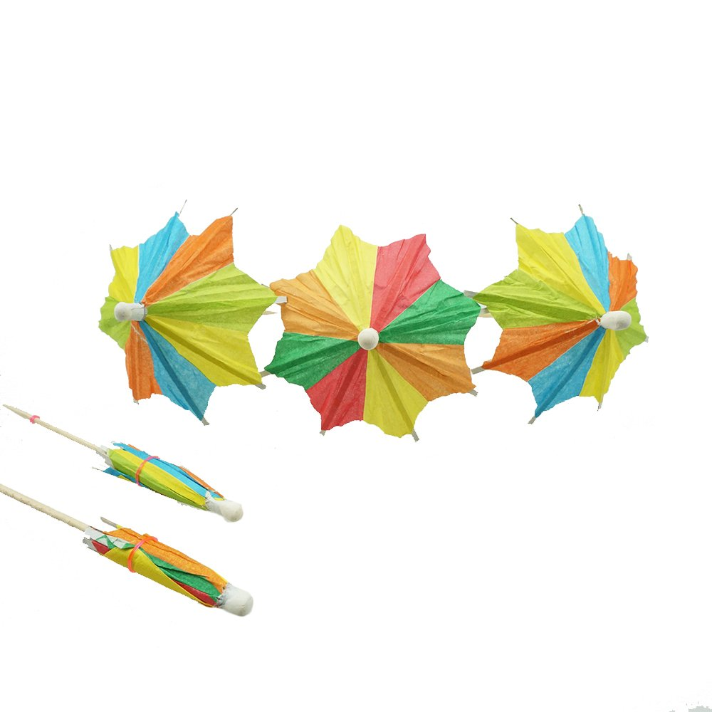 Bilipala Colorful Paper Umbrellas, Cocktail Parasol Picks Cupcake Toppers Picks, Pack of 50