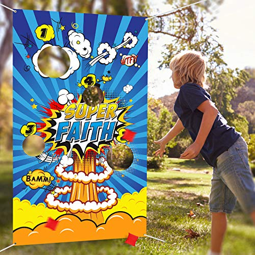 Bean Bag Toss Games with 3 Bean Bag, Fun Indoor and Outdoor Toss Game for Kids and Adults, Hero Theme Party Decorations and Party Supplies (Best Indoor Party Games For Adults)