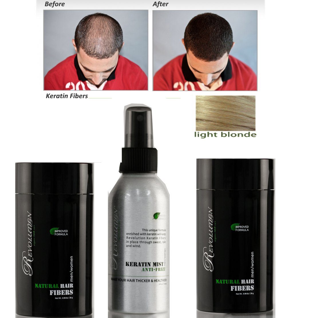 Revolution Natural 2 Light Blonde Hair Fibers +Hold Spray + Brilliance Comb