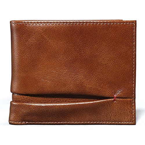 Brown Fold Leather outside Bifold RFID Card Pale Blocking Genuine with Mens Slim ID Wallets Case SevenBrand qOgwEfZCnw