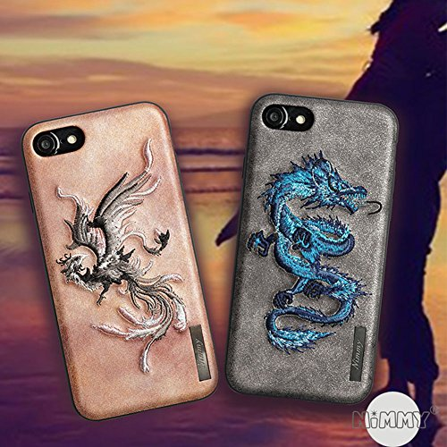MayAi Couple Matching iPhone 7 Plus Case Blue Dragon Embroidered Gel Case, iPhone 8 Plus Case Silicone, Match with Magnetic Car Mount, Leather Resistant Back Cover, Protective Flexible TPU Case