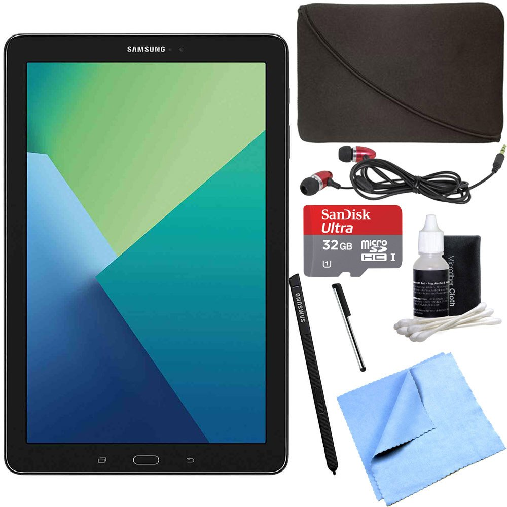 Samsung Galaxy Tab A 10.1 Tablet PC Black w/ S Pen 32GB Bundle includes Tablet, 32GB MicroSDHC Card, Microfiber Cloth, Cleaning Kit, Stylus Pen with Clip, Protective Neoprene Sleeve and Metal Ear Buds