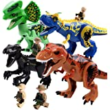 Alpacasso 4pcs Big Dinosaur Building Block Toys, Jurassic World Dinosaur Toys for Boys, Including T Rex, Velociraptor, Dilophosaurus, Carnotaurus