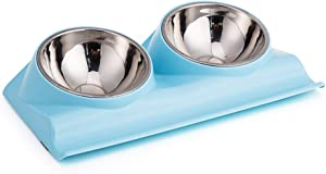 Vealind Double Pet Dog Bowl with Raised Stand, 15 Degree Tilted Non Slip Cat Food and Water Feeding Bowls