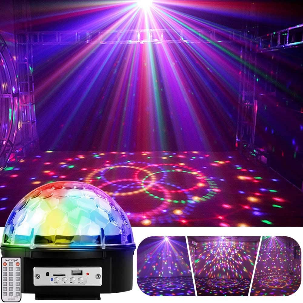 YouOKLight 9 Color LED Disco Ball Party Lights Strobe Light 18W Sound Activated DJ Lights Stage Lights for Club Party Kids Birthday Wedding Decorations Home Karaoke Dance Light (with Remote)