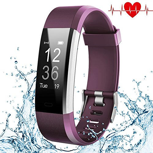 Kybeco Fitness Tracker, Elegant Waterproof Heart Rate Monitor Activity Tracker Bluetooth Wearable Wristband Wireless Step Counter Smart Bracelet Watch for Android and iOS Smartphones (Purple)