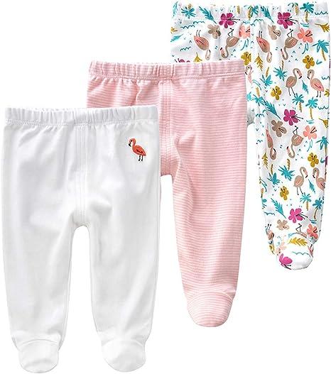 Baby Meisjes Leggings 3 Pack Katoen Broek Bijgevoegde Voeten Broek Voor 0 12 Maanden 73 6 12 Months Flamingo Amazon Nl