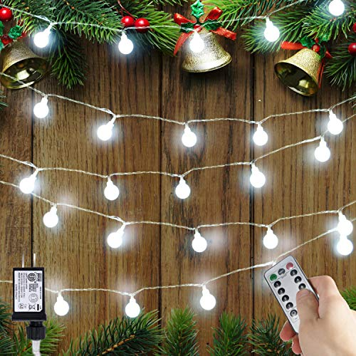 [Remote & Timer] 100 LED 36ft Ball LED Globe String Lights 8 Modes UL Listed WithRemotefor Indoor/Outdoor Commercial Decor, Gardens, Patio, Wedding, Bedroom, Christmas Party Decoration ()