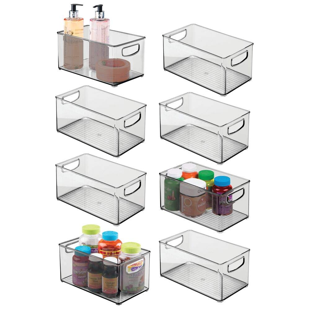 mDesign Deep Plastic Storage Bin with Handles for Organizing Hand Soaps, Body Wash, Shampoos, Lotion, Conditioners, Hand Towels, Hair Accessories, Body Spray, Mouthwash - 10'' Long, 8 Pack - Smoke Gray by mDesign