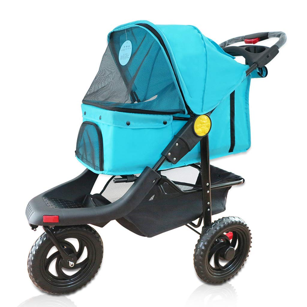 Jlxl Pet Stroller Stroller Trolley Cat Dog Cage Large Three Wheeled Folding Sunscreen Injured Medical