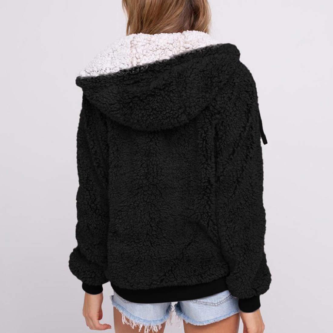 GONKOMA Womens Hooded Coat Winter Parka Zip Up Outwear Cardigan Long Sleeve Sweater Coat with Pocket