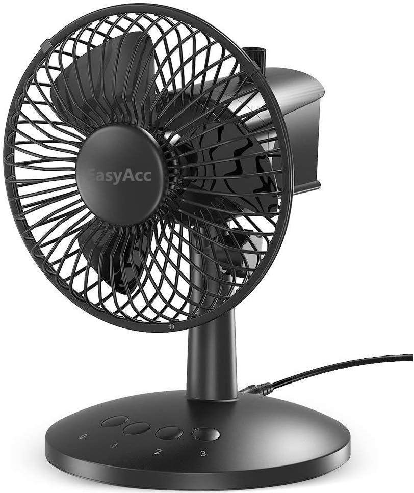 EasyAcc USB Desk Fan,Oscillating Desk Fan Floor Fan 3 Speed Adjustable Head Mini Small Table Fan Electric Automatic Personal Portable Cooling Fan Quiet Brushless Fan for Home Office Travel BBQ Camping