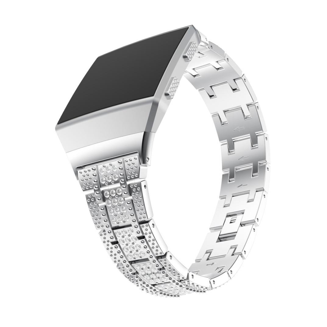 For Fitbit Ionic Band, Gotd Luxury Alloy Crystal Replacement Sport Band for Fitbit Ionic Smart Fitness Watch Large Small Men Women (Silver)