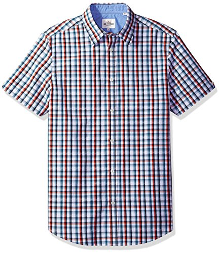 ben-sherman-mens-short-sleeve-classic-check-dobby-rust-orange-medium
