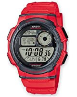 Casio AE-1000W-4AVEF - Reloj digital de-hombre (cuarzo, correa de resina, esfera de color gris), color rojo