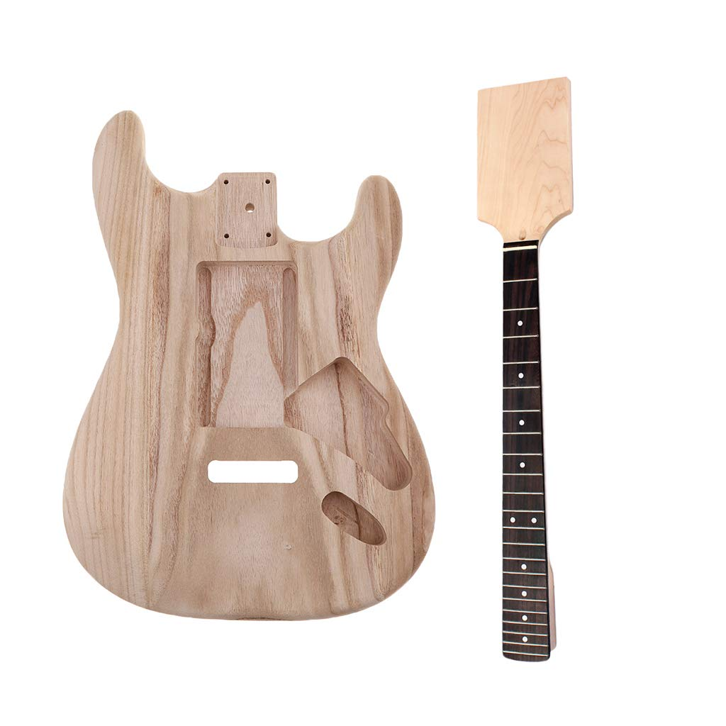Homyl Wooden Electric Guitar Unfinished Body Material with Maple Neck 22 Frets Rosewood Finggerboard