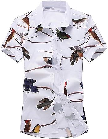 Ouqian-Shirts Camisa Manga Corta Hombre Camisa de Manga Corta con Estampado de Verano para Hombre Animal Bird Impreso Camisa de Vestir Casual con Botones Camisa Casual Tropical Beach Holiday: Amazon.es: Hogar