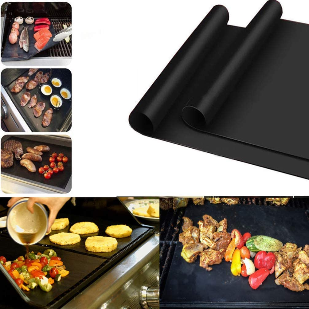 Yarnow 4 Pcs Barbecue Grill Mat Grill Pad Tapis de Barbecue Antiadh/ésif Four Grill Mat Barbecue Grill Accessoires pour Gril /à Gaz Charbon de Bois /Électrique Grill