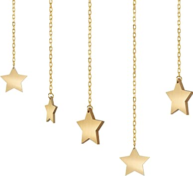 Wood Stars Banner Wall Hanging Photo Display Garland with Chains Picture Frame Collage with 30 Pieces Wood Clips and 10 Pieces Sticky Hook for Home Office Nursery Room Dorm Decoration